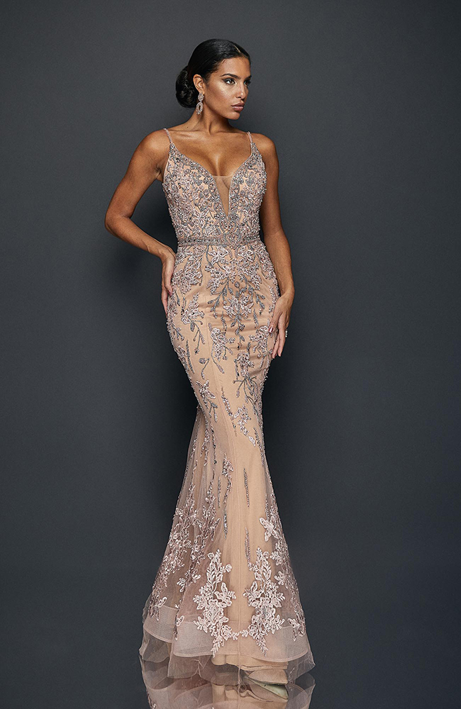 Robe de soirée Evening Gown Dress with embroidery detail