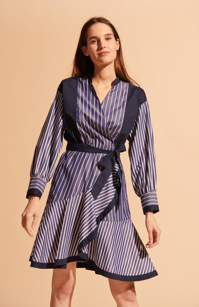 Tara Jarmon Striped Navy Blue Dress