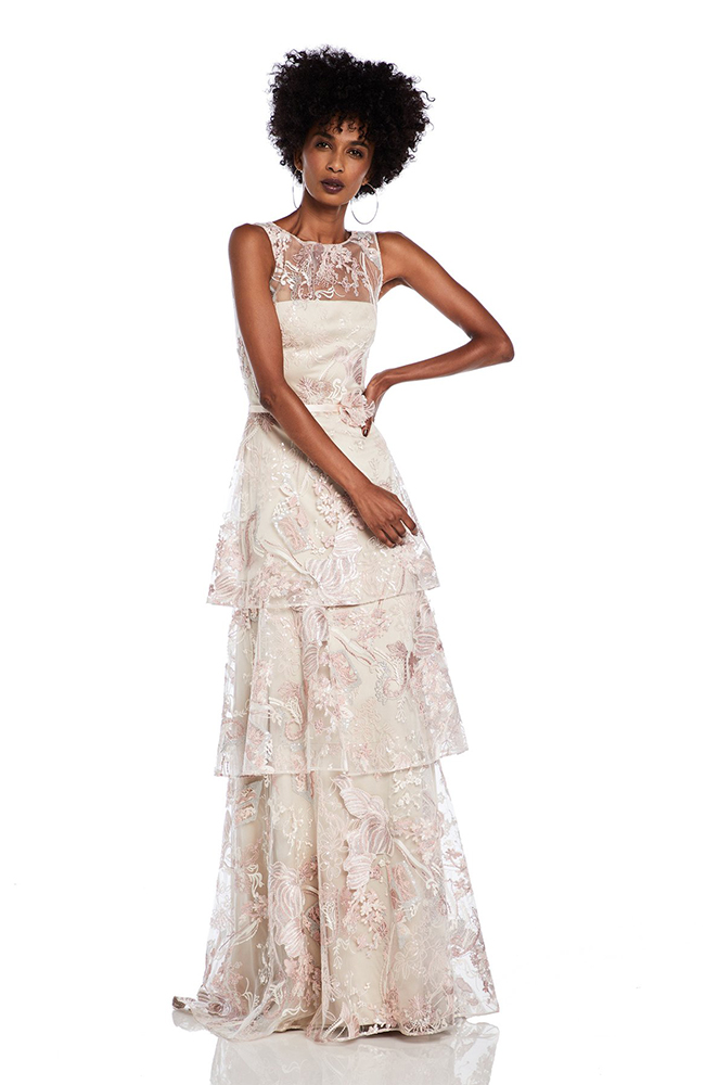 Halston embroidered ruffle layer gown