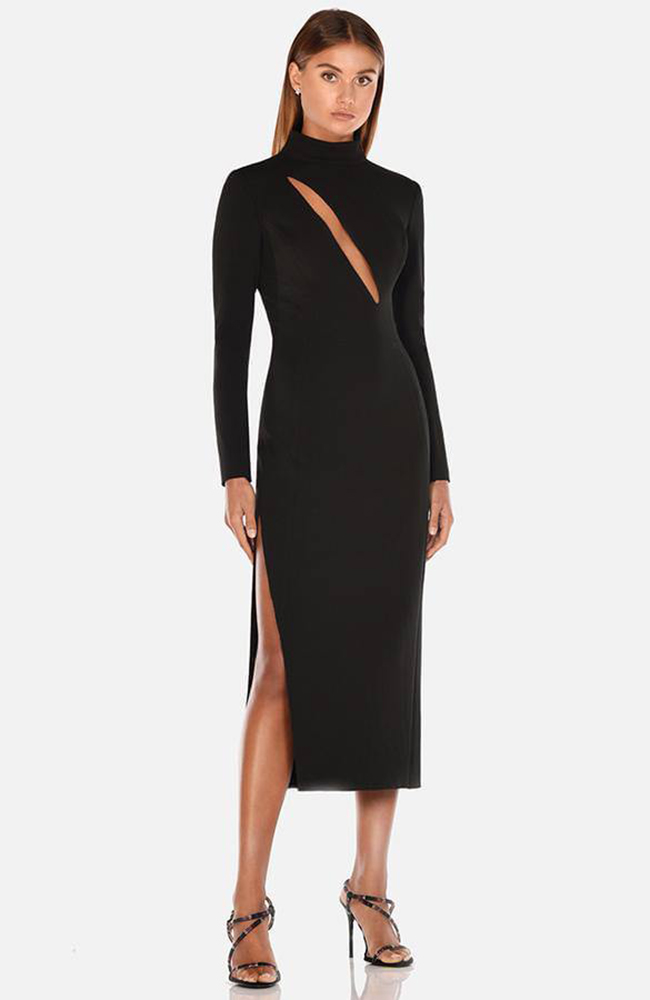 Midi dress black robe de cocktail noire