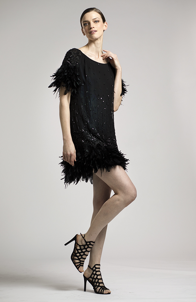 Black Dress with Feather Trim Lucian Matis
