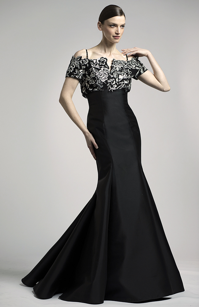 Black black gown embroidered top Lucian Matis