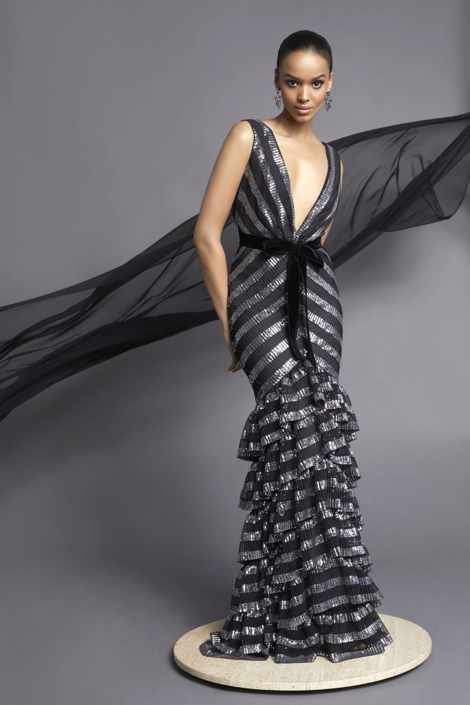 Striped Ruffle Gown Metallic Black Frascara