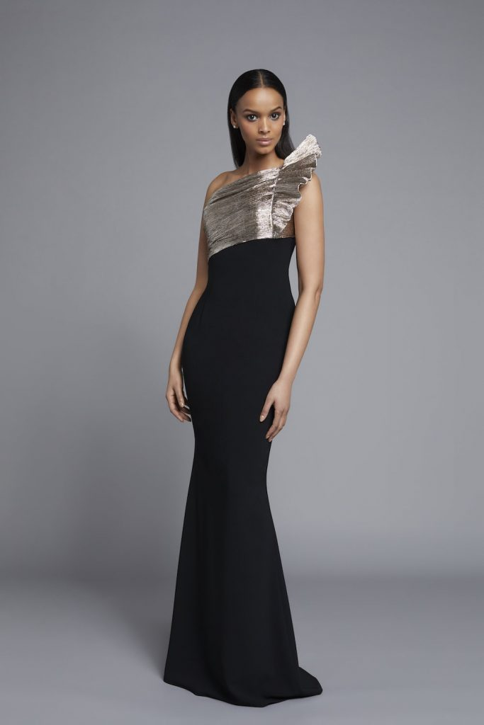 Frascara Gold and Black One shoulder Gown