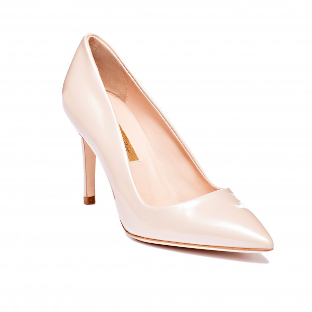 Designer Shoe Dee Keller Nude Patent Leather Pump Stiletto