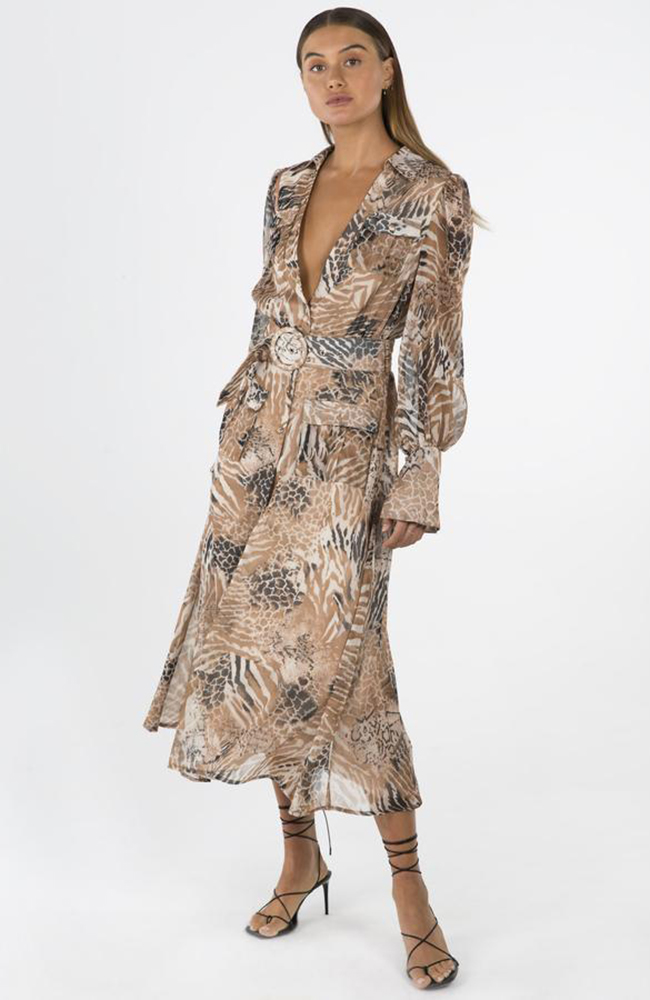 NIKKIA MIDI DRESS IN ANIMAL PRINT