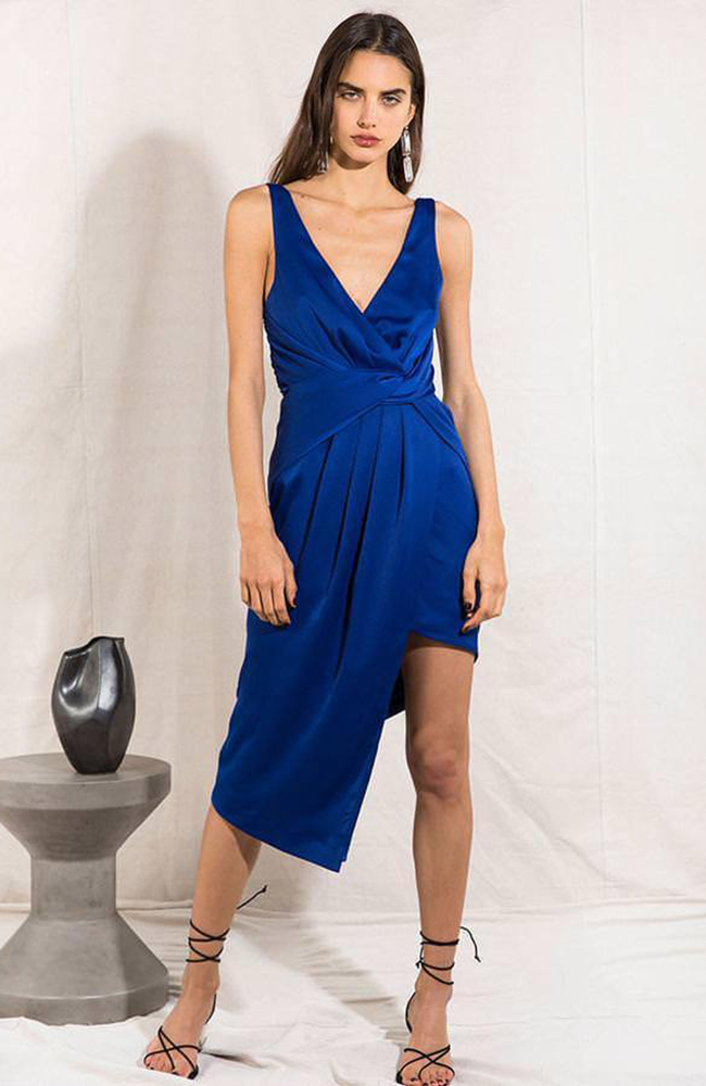 NYRELLA MIDI DRESS ROBE COBALT