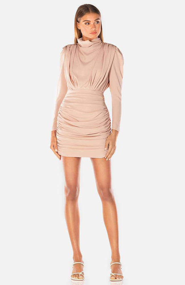 PEARLY CREPE MINIDRESS ROBE BLUSH