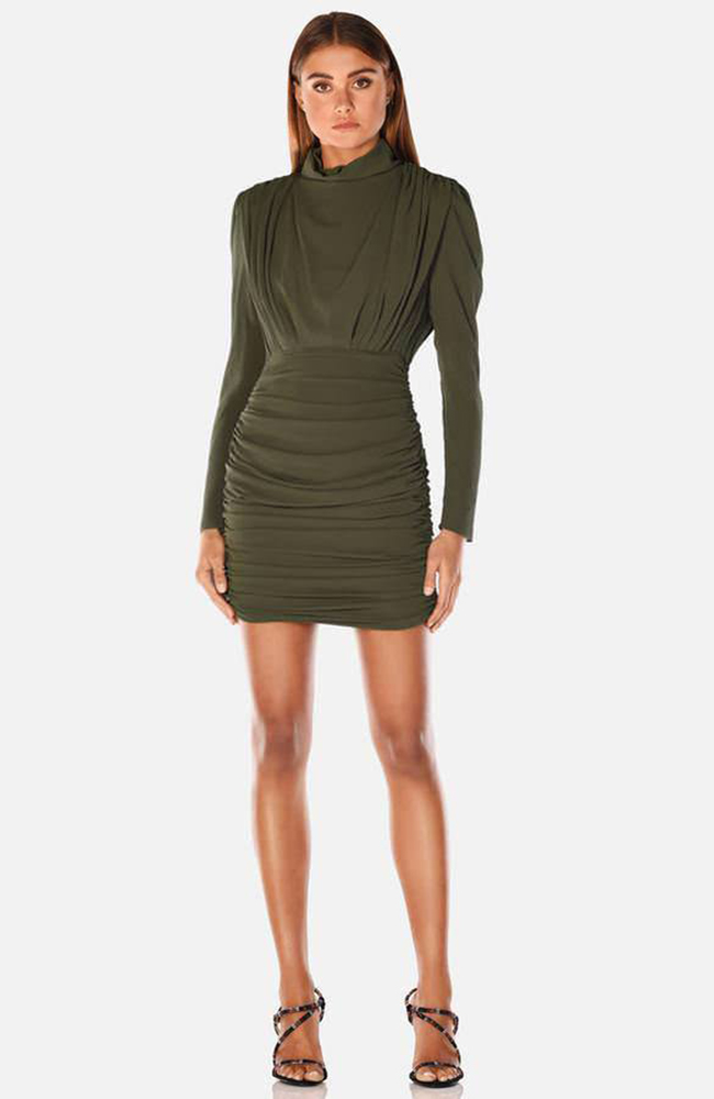 PEARLY CREPE-MINI-DRESS-ROBE-KHAKI