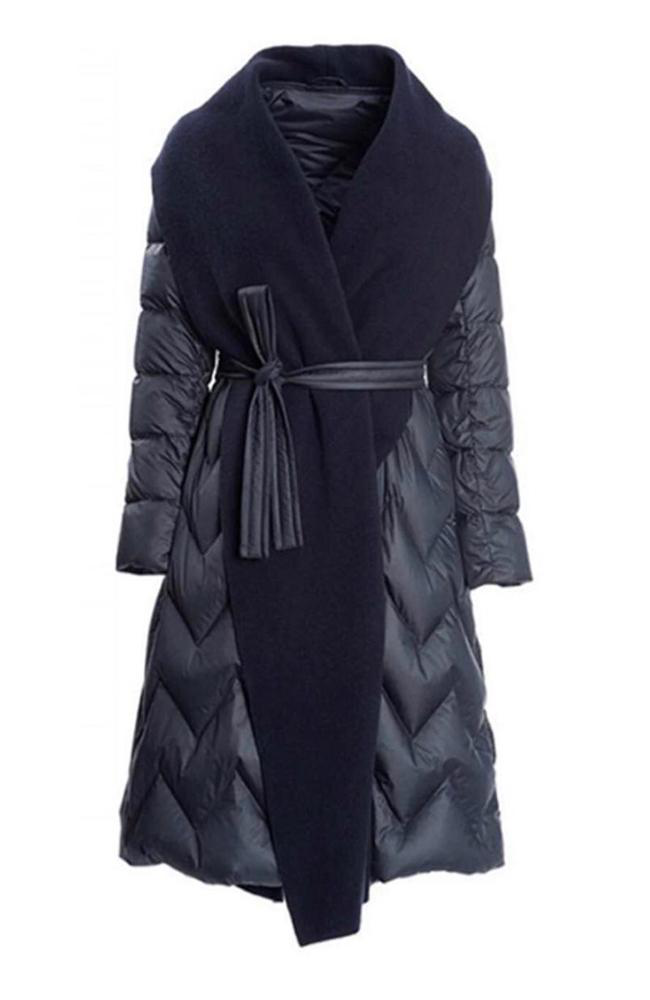 Down Wrap Coat Navy