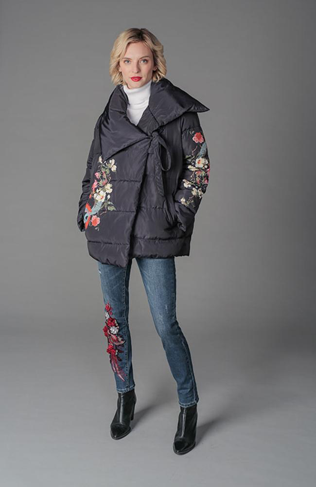 Kimono Style Coat with Flower Embroidery