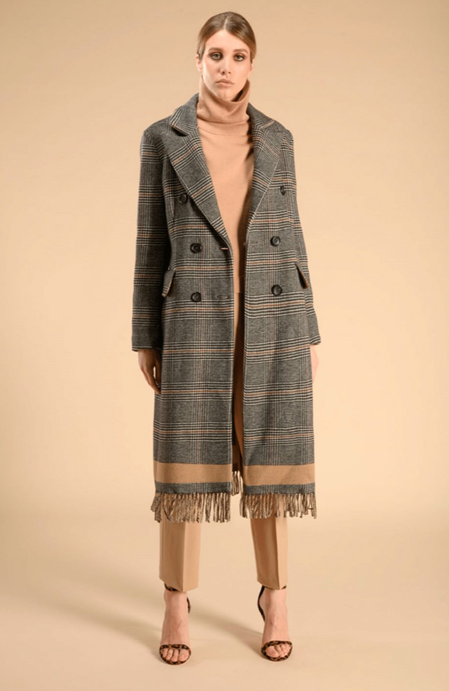 Gray and Beige Plaid Coat with Fringe