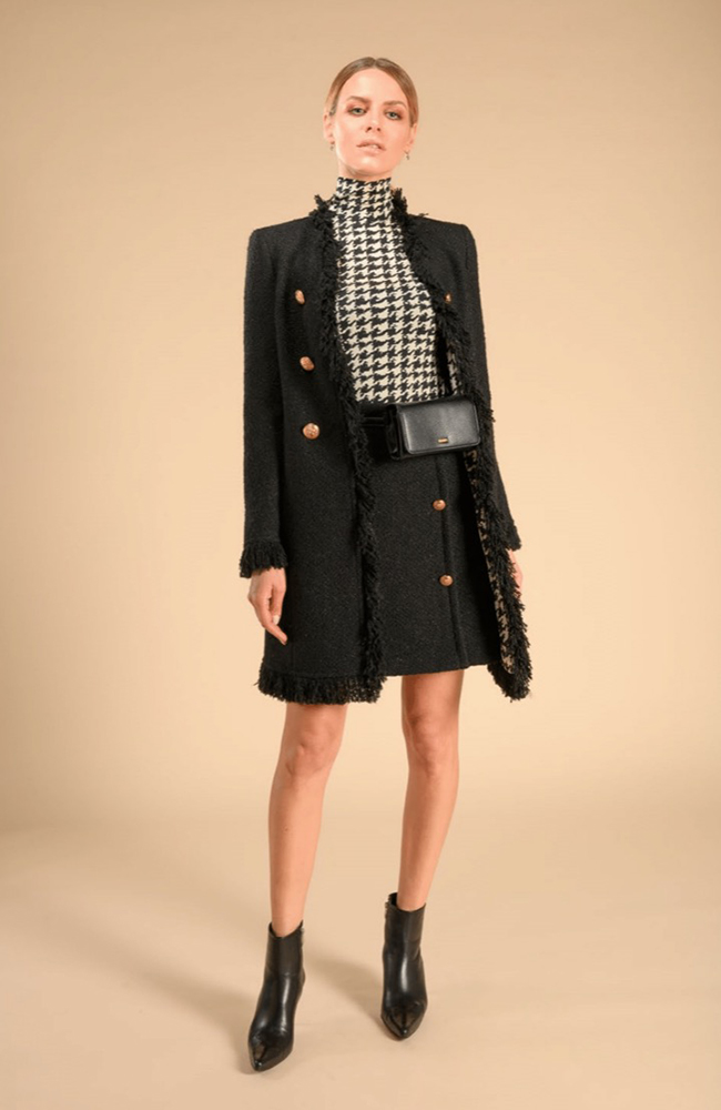 Fringe Coat with Golden Buttons