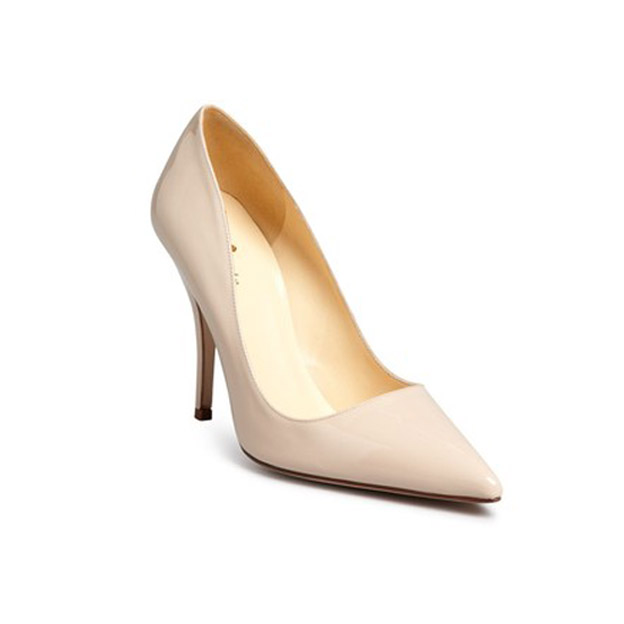 Designer Shoe Dee Keller Nude Patent Leather Pump Heel