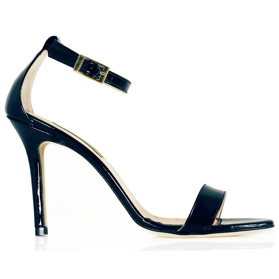 Dee Keller Black Patent Leather Sandal Stiletto Heel