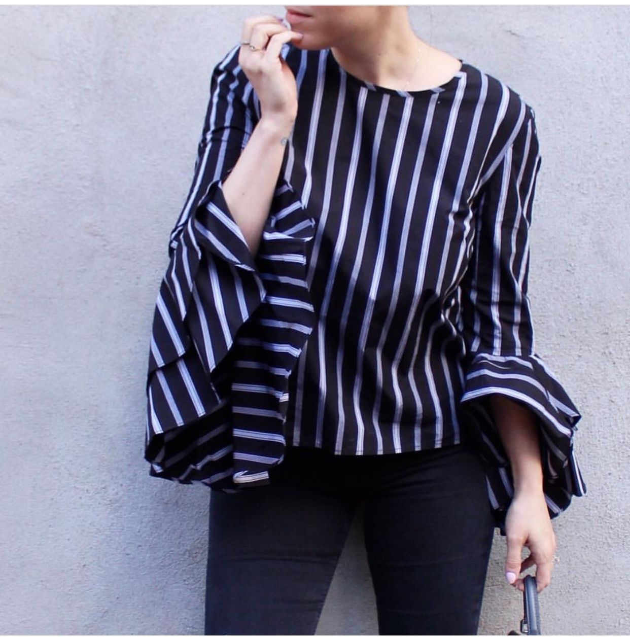 Milly Striped Waterfall Blouse